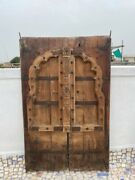 1700's Ancient Rare Wood Carved Arch Shape Floral Castle 43 X 26''jharoka Door