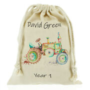 Personalised Tractor Sack School Bag Games/ Pe Kids - Customise With Name
