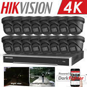 Hikvision 16ch 4k Darkfighter 8mp Poe Turret Home Store Security Camera Systems