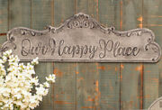 New French Country Farmhouse Vintage Gray Our Happy Place Metal Wall Hanging