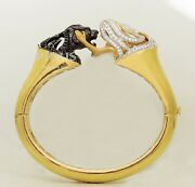 Lady Panther Animal Two Toned Gold Plated Stiff Bracelet Bangle 925 S Silver