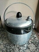 Rare 1950's Kromex Aluminum And Black Atomic Ice Bucket W/locking Lid Water Spout