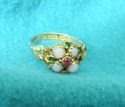 Victorian Antique Opal, Emeralds, Ruby Ring 9k Rose Gold, 6.5, 1876