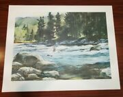 Trout Fishing 1980 Print 469/750 By Francis Golden Fly Print Signed 29 X 22