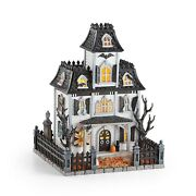 Lenox Halloween Lighted Haunted Mansion House Witch Cries Black Cat Decor New