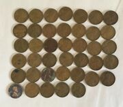 Lot Of 40 Lincoln Wheat Pennies 1944-1954 S Circulated