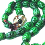 Vintage Chinese Barrel Beads- Green Stone Carved Necklace