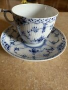 Vintage Royal Copenhagen Blue And White Fluted Tea Cup 756 And Saucer 713