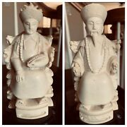 Pair Of Vintage Chinese Resin Ivory Color Emperor And Empress Statue Figurines