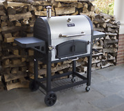 Large Charcoal Bbq Grill Stainless Steel Smoker Firebox Divider W Doors Cooking