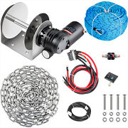 Vevor Tw180electric Anchor Winch Drum Winch 5500lb 0.2x148and039 Rope/chain Kit