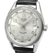 Tag Heuer Carrera Ws2112 Automatic Black Silver Ss Leather Round Analog Mens 127
