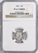 1892 Proof Barber Dime Ngc Proof 61 Cameo Flashy. Fast Ship. Trusted Seller.