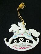 Baby's First Christmas Ornament Rocking Horse Ornament 1989 Lenox No Box