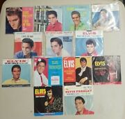 13 Record Lot Of Elvis 45 Rpm Vinyl Records With Picture Sleeves All Vg To Vg+