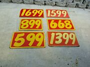 6 Vintage 50s 60s Used Car Lot Price Signs Original Hand Painted