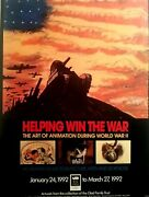 Disney Wwii Animation Exhibition Poster 1992 Collection Mike Glad 18x24 Mint