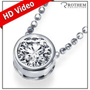 1.00 Carat Diamond Pendant Necklace Solitaire White Gold 14k Real I2 24151463