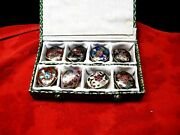 Vintage Set Of 8 Chinese Pill/snuff Boxes In Cloisonne In A Box