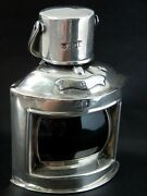 Rare Antique Novelty Solid Silver Ships Lamp Table Vesta Inkwell Table Lighter