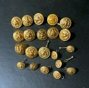 21 Vtg Us Navy Anchor And Eagle Brass Buttons Superior Quality Van Guard