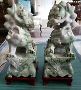 Pair Exquisite Hand Carved Signed Antique Jade Foo Dog Lion Statues W/ Stands