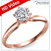 1.00 Ct Round Solitaire Diamond Engagement Ring F Si2 18k Rose Gold 57751510