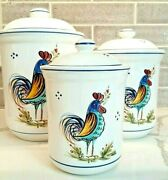 Deruta Ceramiche Set/3 Rooster Canisters Made In Italy Hand Made/painted