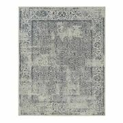 8and039x10and0391 Wool And Silk Hand Loomed Light Gray Fine Jacquard Rug G63255