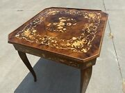 Italian Inlaid Wood Multi Game Table With Roulette Checkers/chess Backgammon