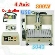 Usb 4axis 3040 Cnc Router Kit 110v 800w Diy Engraver Machine Wood Milling Cutter