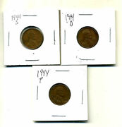 1944 P,d,s Wheat Pennies Lincoln Cents Circulated 2x2 Flips 3 Coin Pds Set3530