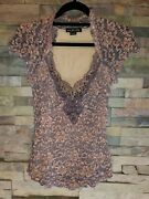 Anthropologie Euc Lace And Ribbon Rose Purple Colored Top By Ann Ferriday