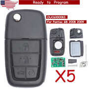 5x Replacement Folding Remote Key Fob 315mhz 4+1 Button For Pontiac G8 2008 2009