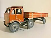 Rare Vintage Tin 1940s Mettoy Clockwork Articulated Lorry/ Trailer English Toys.