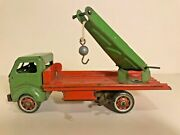 Vintage English Clockwork Tin Toy Mettoy Crane Lorry No. 3196 Working With A Key