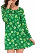 Aphratti Womenand039s Long Sleeve St Patricks Cute Clover Print Casual Flare Dress