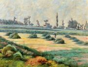 Jean Galland Painting Landscape Impressionism Monet Grindstone Of Hay Haying