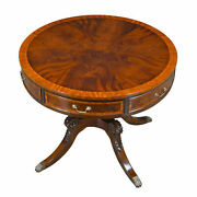 Mahogany Round Drum Foyer Entry Accent Table