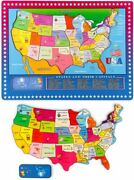 Wondertoys 46 Pieces Wooden Map Puzzle For Kids Us Map Puzzle Educational Geo...