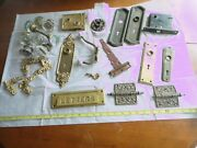 24 Antique Door Cabinet Hardware Lot Hinges Glass Knobs Brass Lock Boxes Read Vg
