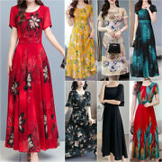 Women Casual Floral Maxi Long Dress Short Sleeve Ladies Party Gown Swing Dresses