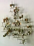 Large Mcm Brutalist Metal Silver Gold Gilt Copper Nail Art Wall Sculpture 53andrdquo H
