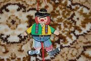 Old Vintage Wooden String Puppet Clown 3.5 Inch
