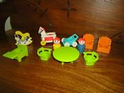 Fisher Price 1972 Lot Of 11 Doll House Baby Toys Wooden Boy