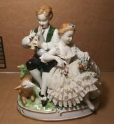 Vintage Germany Porcelain Boy Girl And Goat Figurine Unterweissbach Lace