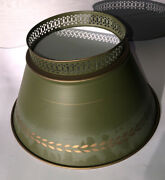 Vintage Army Green Pea Oregano Green Gold Accent Tole Floor Table Lamp Shade 10andrdquo