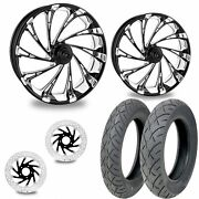 Pm Del Rey Contrast 21/18 Front Rear Wheel Package Set Tires Rotors Harley Flh/t
