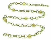 Balls And Twisted Wire 14k Yellow Gold Link Chain Necklace 35
