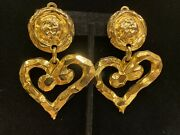 Vintage Large Heart Runway Hammered Dangle Gold Tone Clip On Earrings